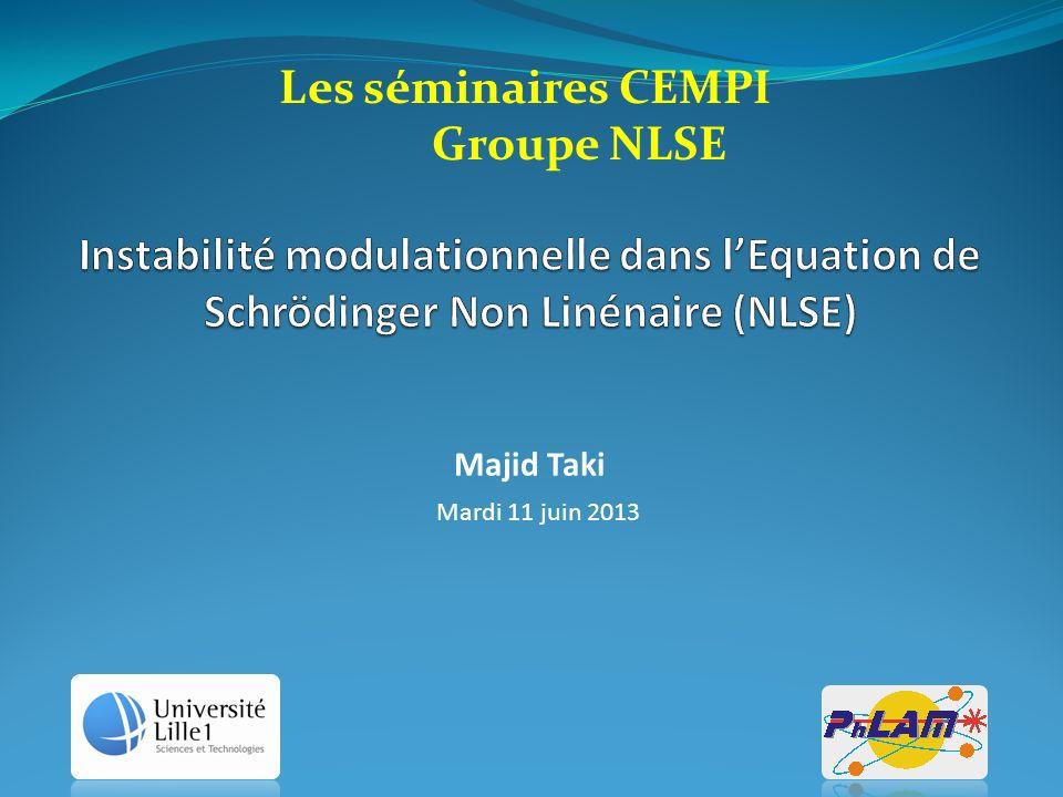Majid Taki Mardi 11 juin 2013 Les séminaires CEMPI Groupe NLSE