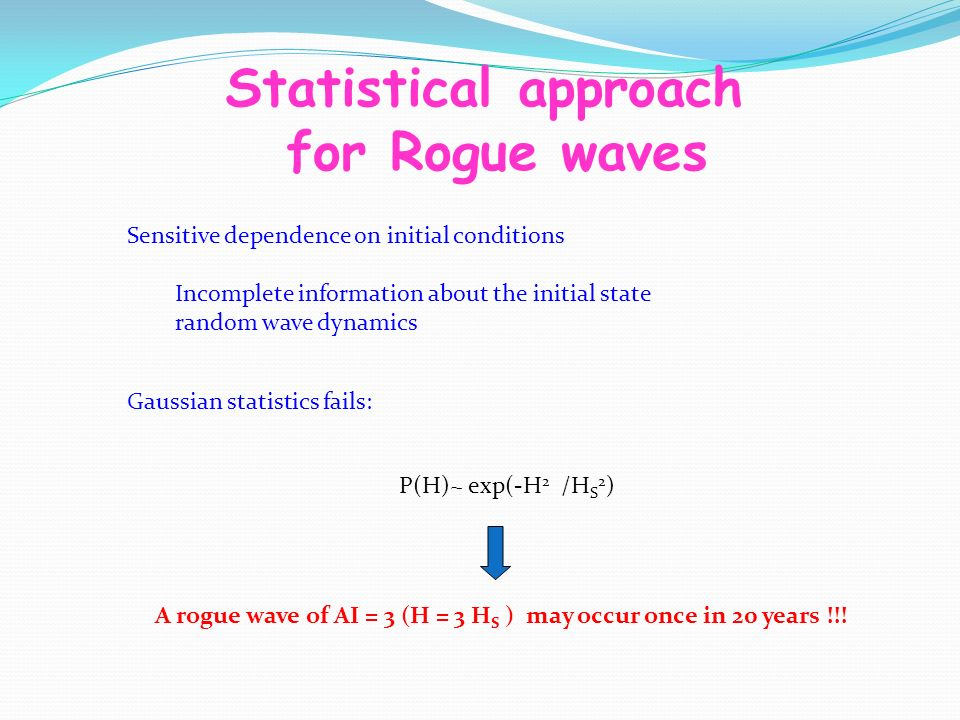 Statistical approach for Rogue waves Sensitive dependence on initial conditions Incomplete information about the initial state random wave dynamics Gaussian statistics fails: P(H)~ exp(-H 2 /H S 2 ) A rogue wave of AI = 3 (H = 3 H S ) may occur once in 20 years !!!