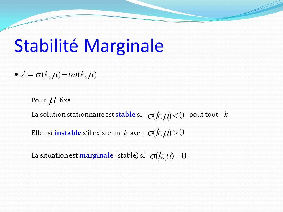 Stabilité Marginale La solution stationnaire est stable sipout tout Elle est instable sil existe unavec La situation est marginale (stable) si Pourfix