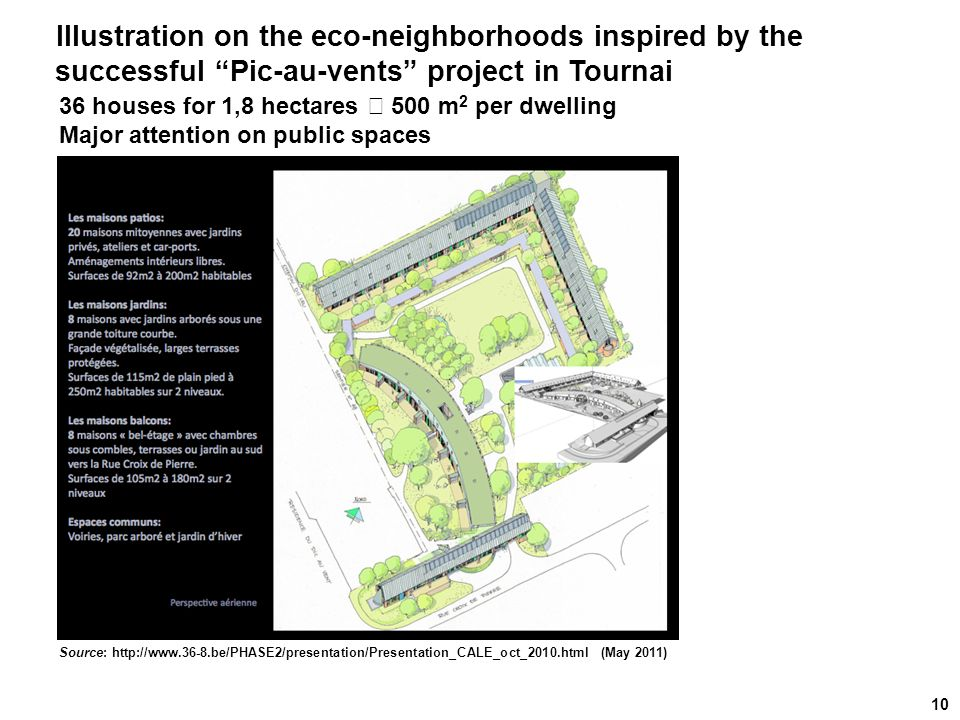 Source: http://www.36-8.be/PHASE2/presentation/Presentation_CALE_oct_2010.html (May 2011) 10 Illustration on the eco-neighborhoods inspired by the suc
