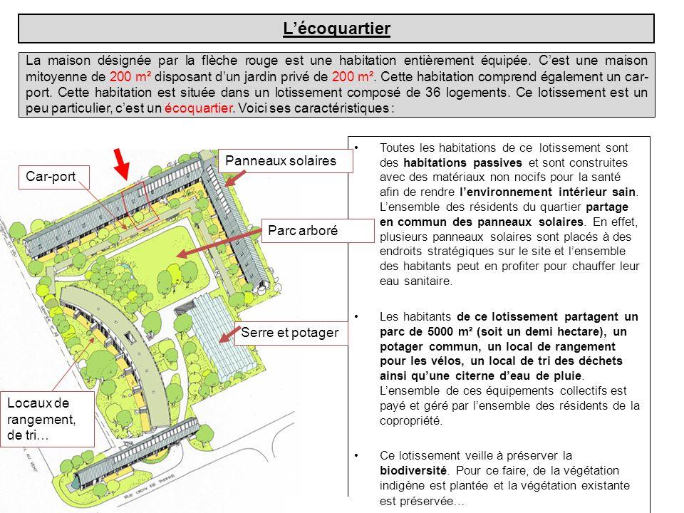 La maison désignée par la flèche rouge est une habitation entièrement équipée. Cest une maison mitoyenne de 200 m² disposant dun jardin privé de 200 m