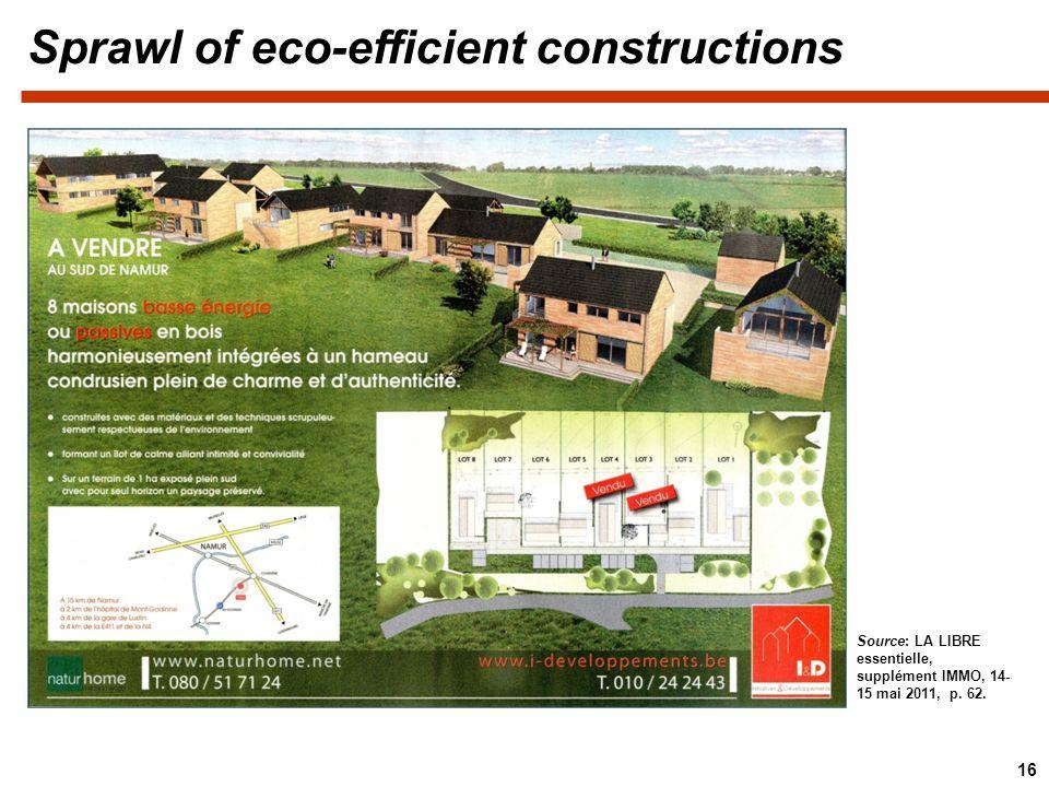 Sprawl of eco-efficient constructions 16 Source: LA LIBRE essentielle, supplément IMMO, 14- 15 mai 2011, p. 62.
