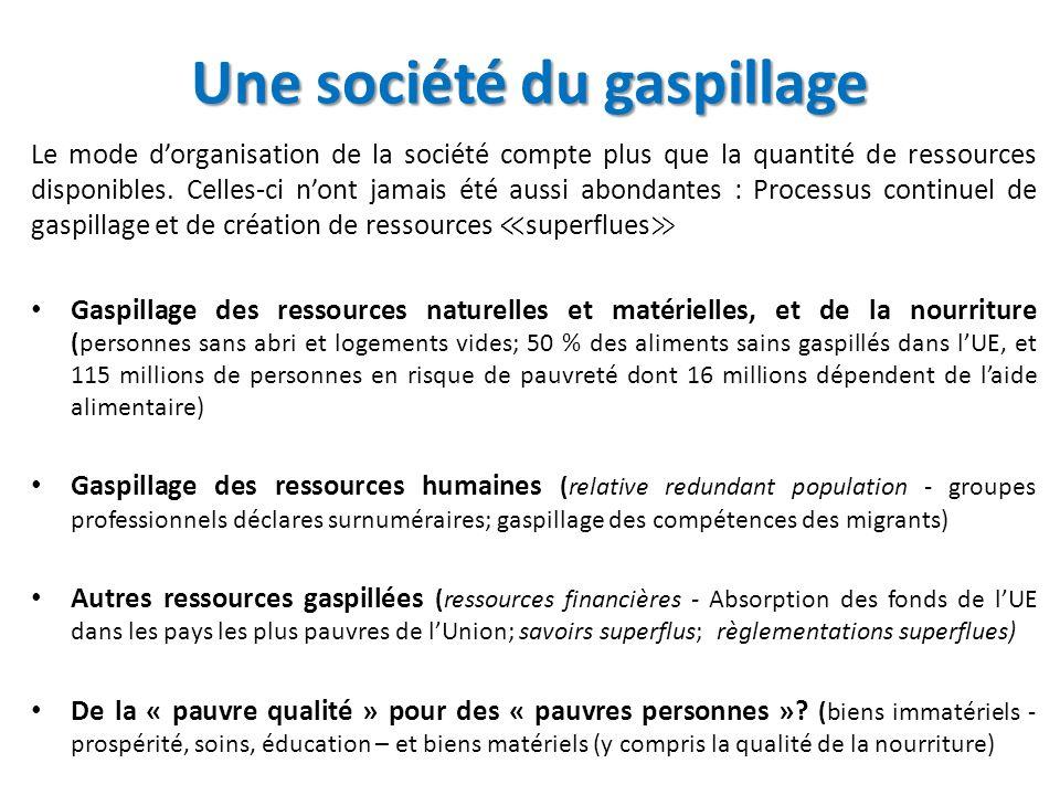 Une société du gaspillage Le mode dorganisation de la société compte plus que la quantité de ressources disponibles.