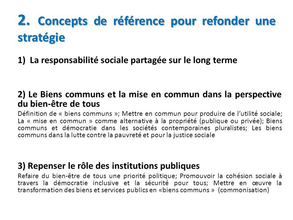 2. Concepts de référence pour refonder une stratégie 1) La responsabilité sociale partagée sur le long terme 2) Le Biens communs et la mise en commun