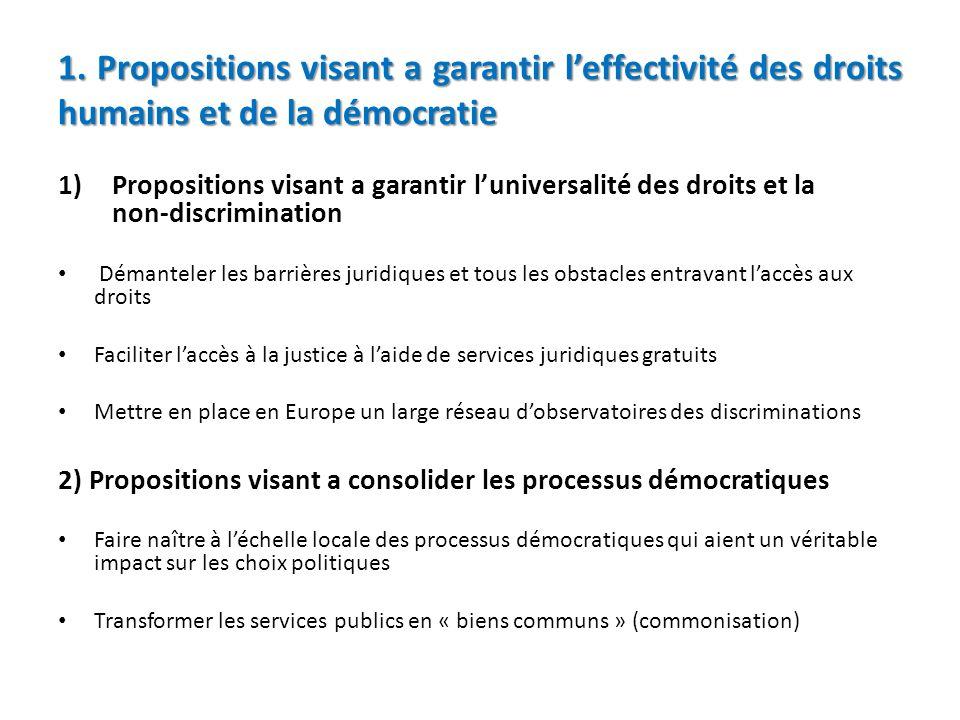 1. Propositions visant a garantir leffectivité des droits humains et de la démocratie 1)Propositions visant a garantir luniversalité des droits et la
