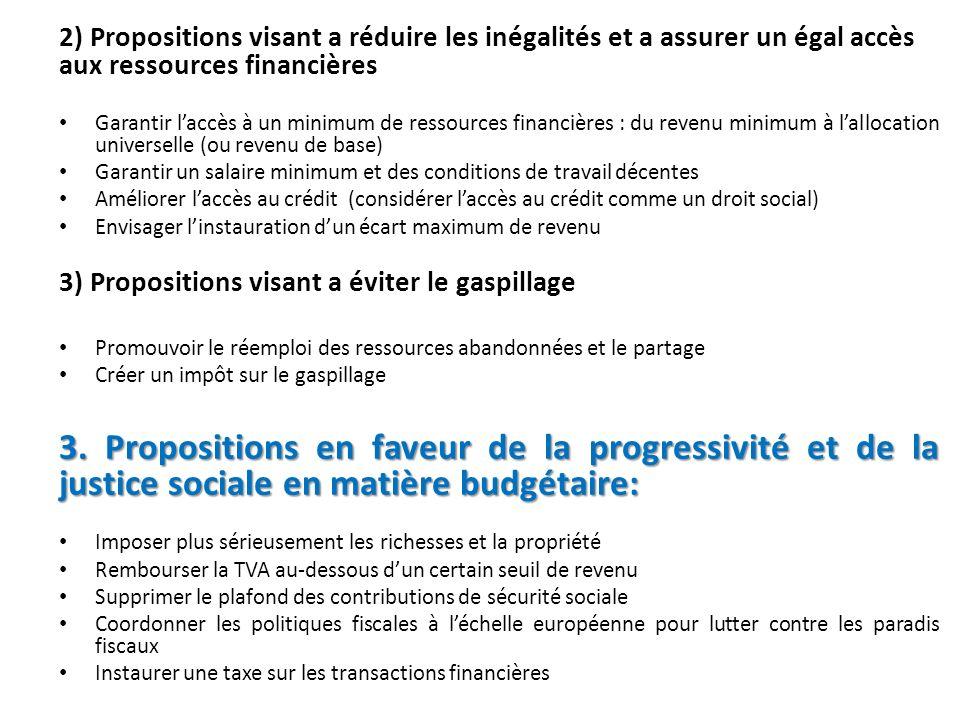2) Propositions visant a réduire les inégalités et a assurer un égal accès aux ressources financières Garantir laccès à un minimum de ressources finan