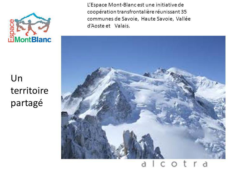 LEspace Mont-Blanc est une initiative de coopération transfrontalière réunissant 35 communes de Savoie, Haute Savoie, Vallée dAoste et Valais. Un terr