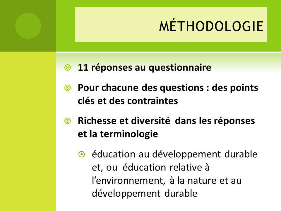 MÉTHODOLOGIE 11 réponses au questionnaire Pour chacune des questions : des points clés et des contraintes Richesse et diversité dans les réponses et la terminologie éducation au développement durable et, ou éducation relative à lenvironnement, à la nature et au développement durable