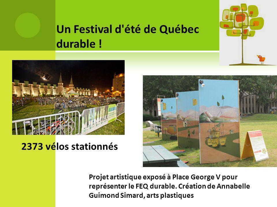 Un Festival d'été de Québec durable ! 2373 vélos stationnés Projet artistique exposé à Place George V pour représenter le FEQ durable. Création de Ann