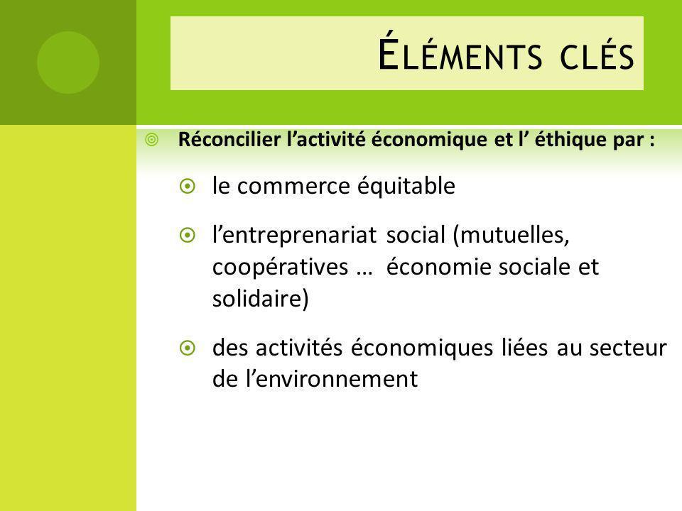 É LÉMENTS CLÉS Réconcilier lactivité économique et l éthique par : le commerce équitable lentreprenariat social (mutuelles, coopératives … économie sociale et solidaire) des activités économiques liées au secteur de lenvironnement