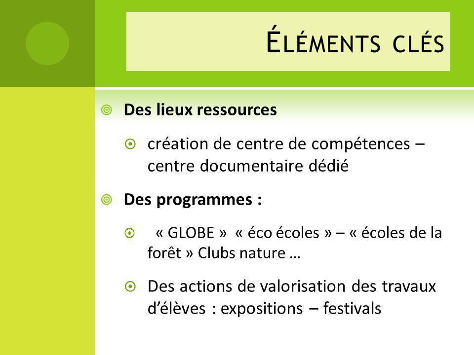 Des lieux ressources création de centre de compétences – centre documentaire dédié Des programmes : « GLOBE » « éco écoles » – « écoles de la forêt »