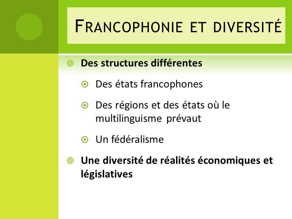 F RANCOPHONIE ET DIVERSITÉ Des structures différentes Des états francophones Des régions et des états où le multilinguisme prévaut Un fédéralisme Une diversité de réalités économiques et législatives