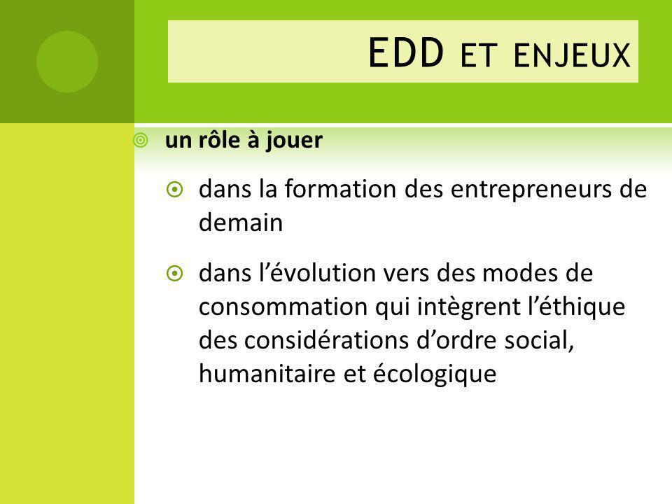 EDD ET ENJEUX un rôle à jouer dans la formation des entrepreneurs de demain dans lévolution vers des modes de consommation qui intègrent léthique des considérations dordre social, humanitaire et écologique