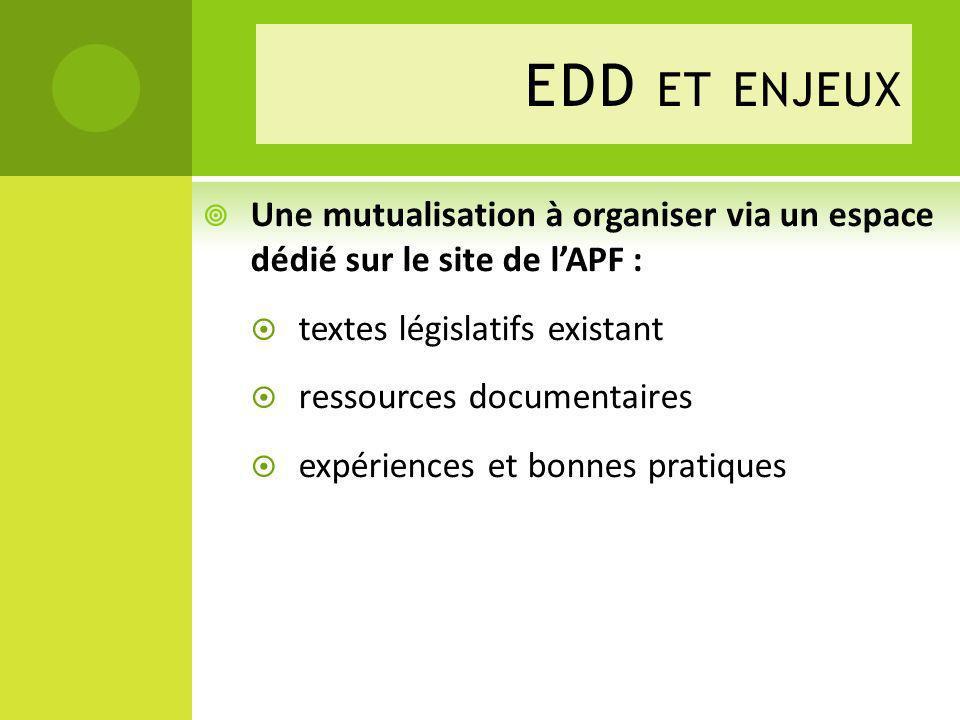 Une mutualisation à organiser via un espace dédié sur le site de lAPF : textes législatifs existant ressources documentaires expériences et bonnes pratiques EDD ET ENJEUX