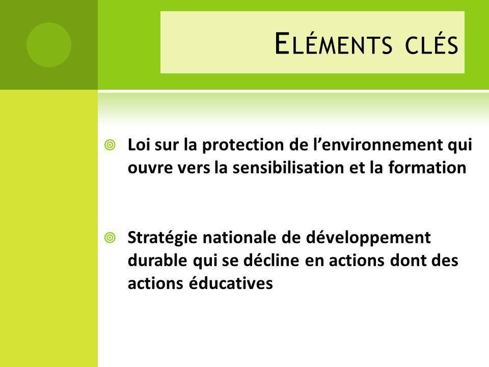 E LÉMENTS CLÉS Loi sur la protection de lenvironnement qui ouvre vers la sensibilisation et la formation Stratégie nationale de développement durable qui se décline en actions dont des actions éducatives