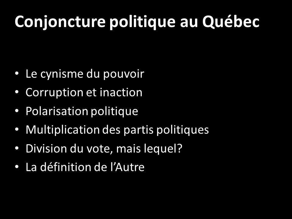 Conjoncture politique au Québec Le cynisme du pouvoir Corruption et inaction Polarisation politique Multiplication des partis politiques Division du vote, mais lequel.