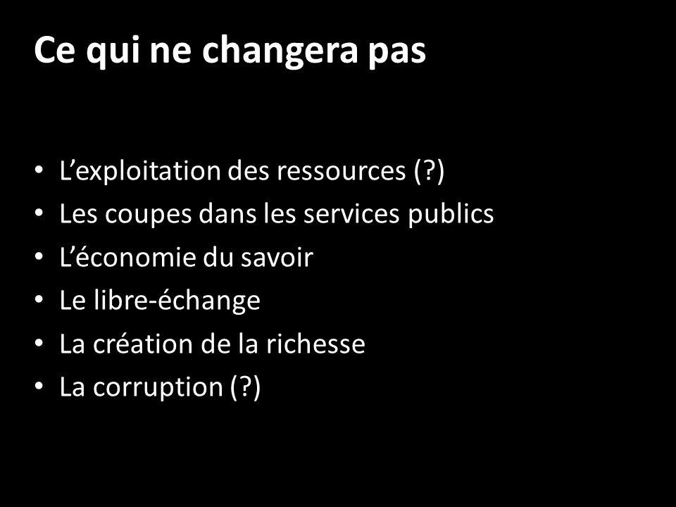 Ce qui ne changera pas Lexploitation des ressources (?) Les coupes dans les services publics Léconomie du savoir Le libre-échange La création de la richesse La corruption (?)