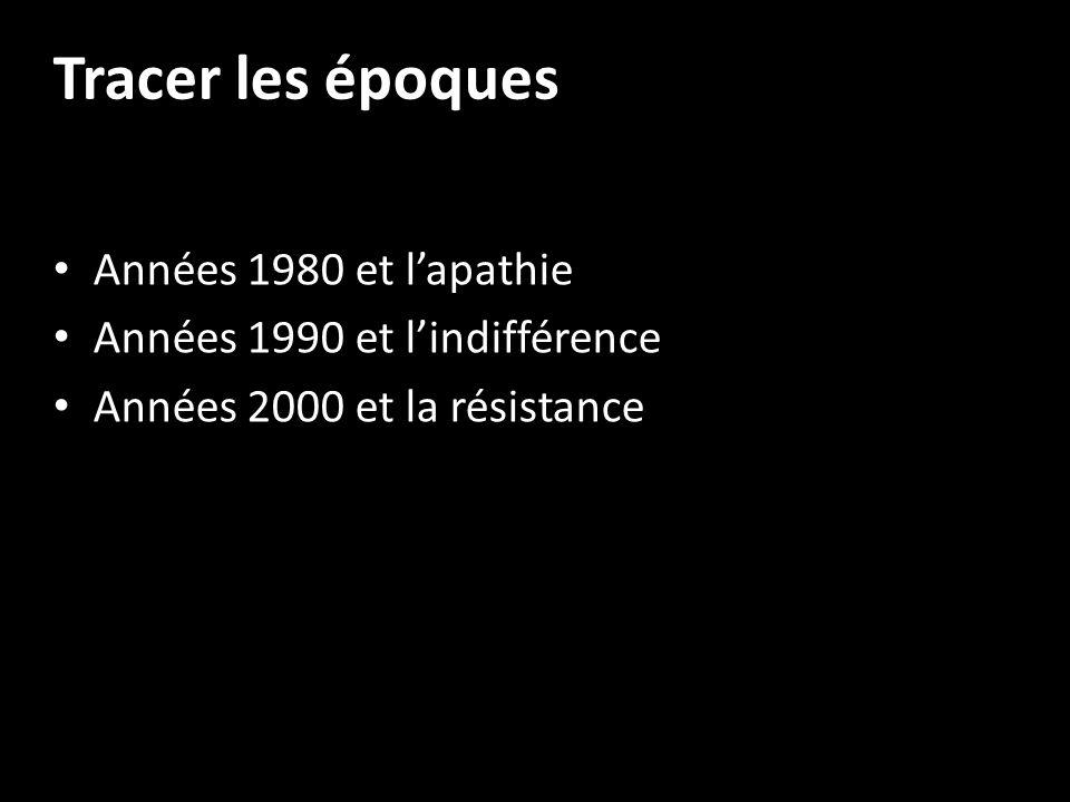 Tracer les époques Années 1980 et lapathie Années 1990 et lindifférence Années 2000 et la résistance