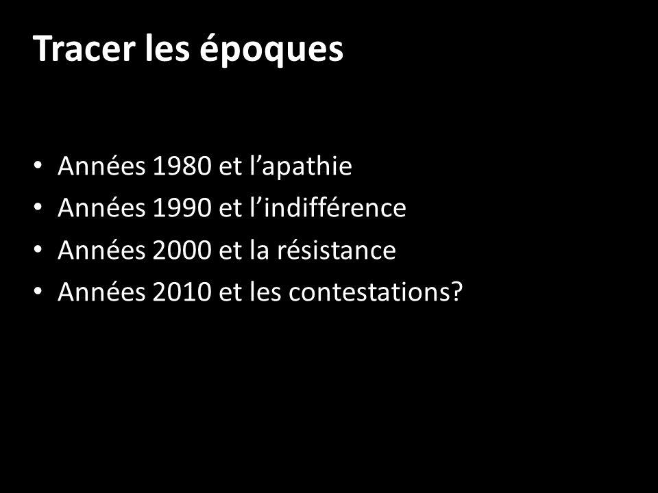 Tracer les époques Années 1980 et lapathie Années 1990 et lindifférence Années 2000 et la résistance Années 2010 et les contestations?