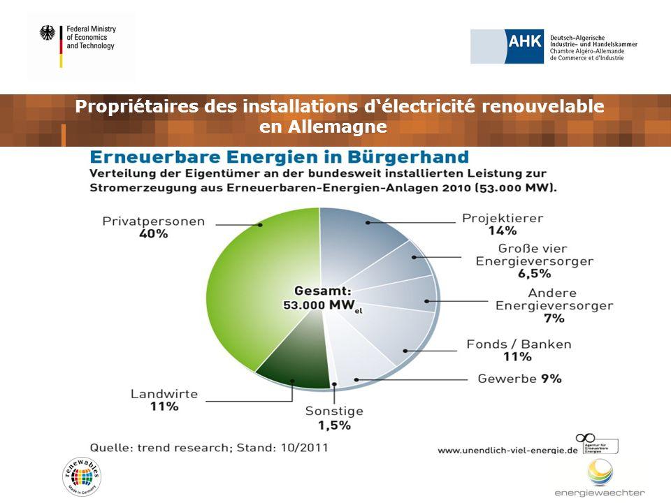 Propriétaires des installations délectricité renouvelable en Allemagne