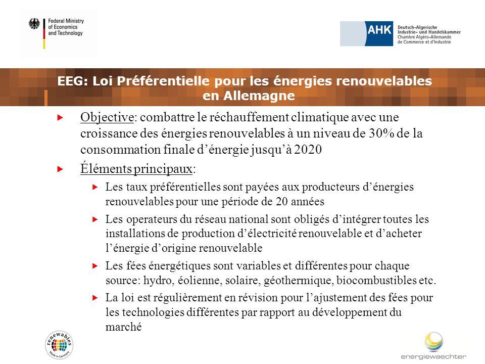 EEG: Loi Préférentielle pour les énergies renouvelables en Allemagne Objective: combattre le réchauffement climatique avec une croissance des énergies renouvelables à un niveau de 30% de la consommation finale dénergie jusquà 2020 Éléments principaux: Les taux préférentielles sont payées aux producteurs dénergies renouvelables pour une période de 20 années Les operateurs du réseau national sont obligés dintégrer toutes les installations de production délectricité renouvelable et dacheter lénergie dorigine renouvelable Les fées énergétiques sont variables et différentes pour chaque source: hydro, éolienne, solaire, géothermique, biocombustibles etc.