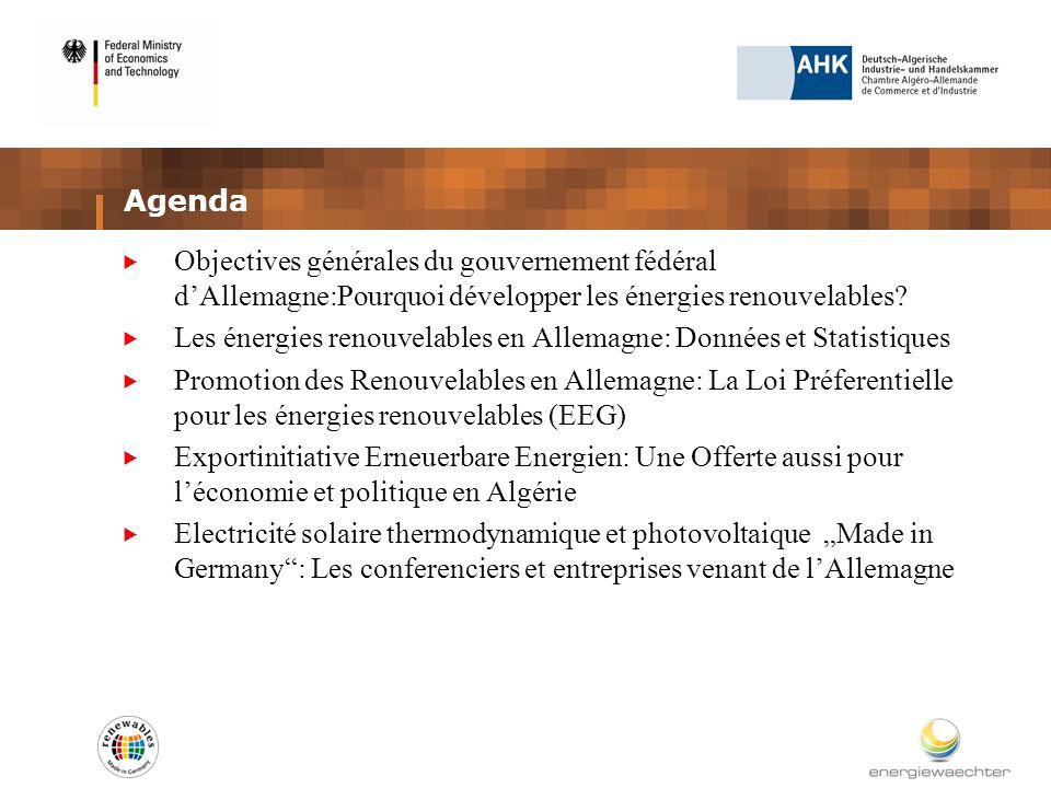 Agenda Objectives générales du gouvernement fédéral dAllemagne:Pourquoi développer les énergies renouvelables.