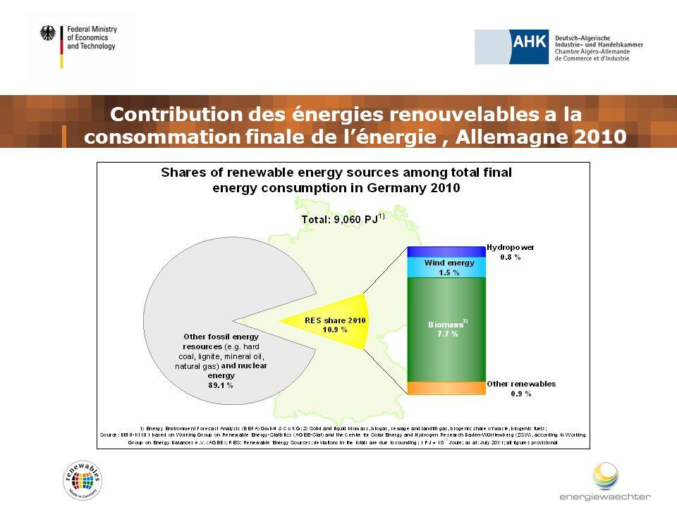 Contribution des énergies renouvelables a la consommation finale de lénergie, Allemagne 2010