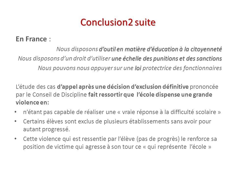 Conclusion2 suite En France : doutil en matière déducation à la citoyenneté Nous disposons doutil en matière déducation à la citoyenneté une échelle d