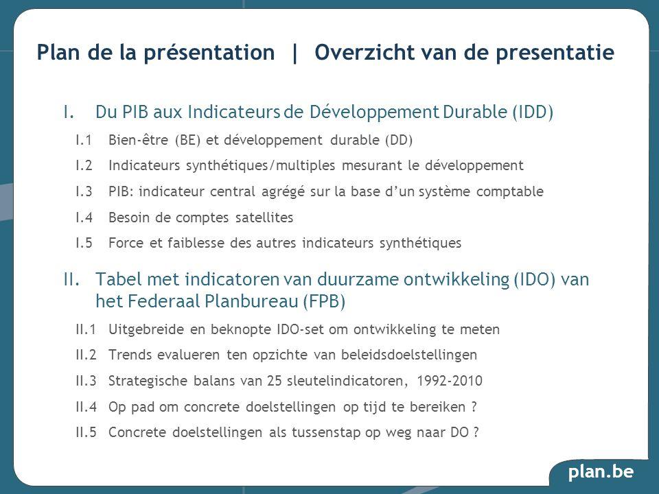 plan.be I.Du PIB aux Indicateurs de Développement Durable (IDD) I.1Bien-être (BE) et développement durable (DD) I.2Indicateurs synthétiques/multiples