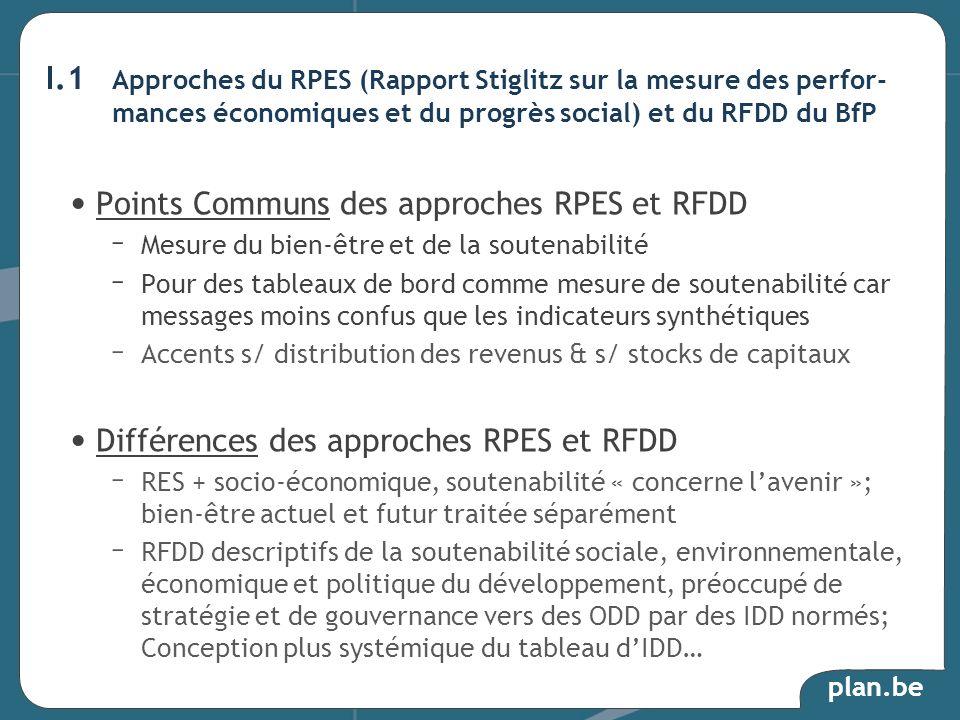 plan.be I.1 Approches du RPES (Rapport Stiglitz sur la mesure des perfor- mances économiques et du progrès social) et du RFDD du BfP Points Communs des approches RPES et RFDD – Mesure du bien-être et de la soutenabilité – Pour des tableaux de bord comme mesure de soutenabilité car messages moins confus que les indicateurs synthétiques – Accents s/ distribution des revenus & s/ stocks de capitaux Différences des approches RPES et RFDD – RES + socio-économique, soutenabilité « concerne lavenir »; bien-être actuel et futur traitée séparément – RFDD descriptifs de la soutenabilité sociale, environnementale, économique et politique du développement, préoccupé de stratégie et de gouvernance vers des ODD par des IDD normés; Conception plus systémique du tableau dIDD…