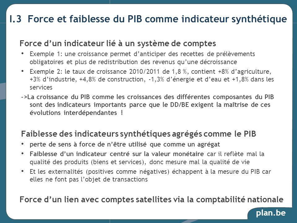 plan.be I.3 Force et faiblesse du PIB comme indicateur synthétique Force dun indicateur lié à un système de comptes Exemple 1: une croissance permet d