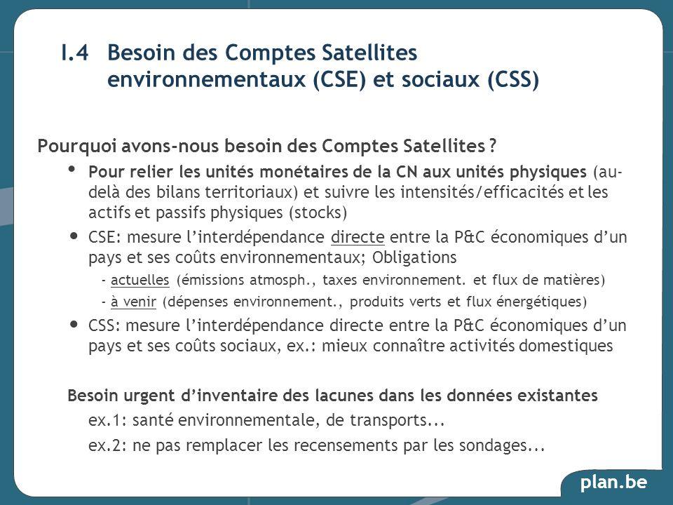 plan.be Pourquoi avons-nous besoin des Comptes Satellites ? Pour relier les unités monétaires de la CN aux unités physiques (au- delà des bilans terri