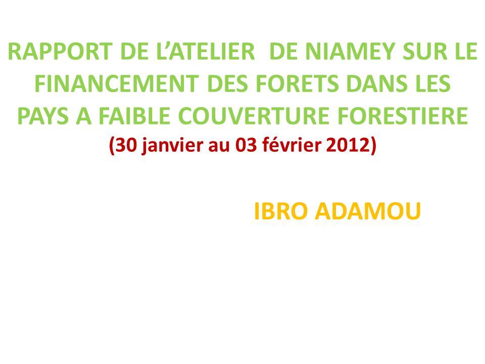 RAPPORT DE LATELIER DE NIAMEY SUR LE FINANCEMENT DES FORETS DANS LES PAYS A FAIBLE COUVERTURE FORESTIERE (30 janvier au 03 février 2012) IBRO ADAMOU