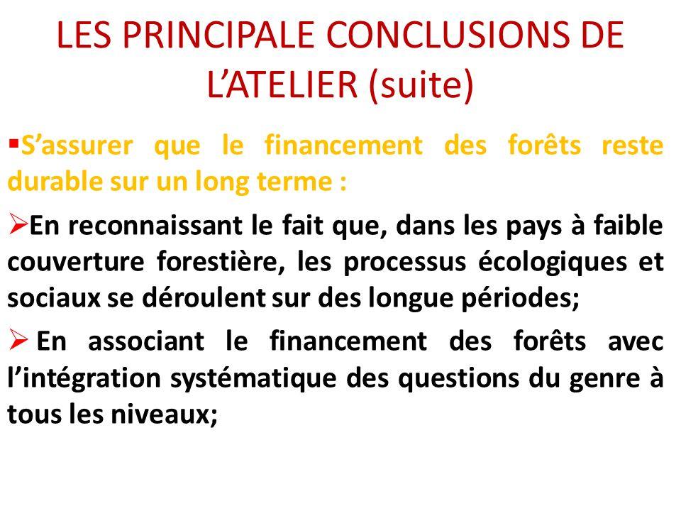 LES PRINCIPALE CONCLUSIONS DE LATELIER (suite) Sassurer que le financement des forêts reste durable sur un long terme : En reconnaissant le fait que,
