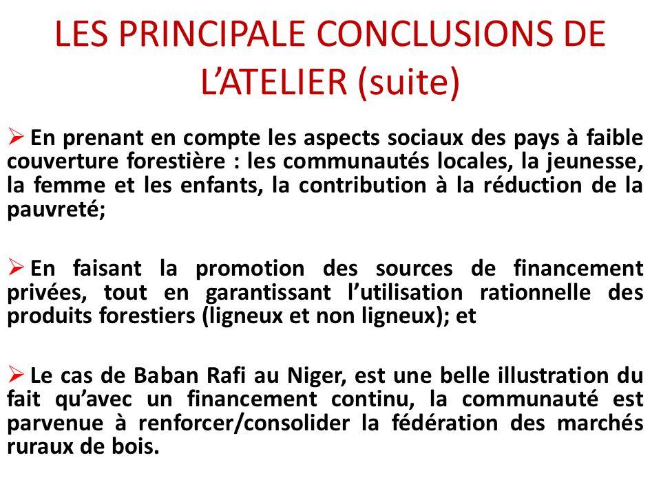 LES PRINCIPALE CONCLUSIONS DE LATELIER (suite) En prenant en compte les aspects sociaux des pays à faible couverture forestière : les communautés locales, la jeunesse, la femme et les enfants, la contribution à la réduction de la pauvreté; En faisant la promotion des sources de financement privées, tout en garantissant lutilisation rationnelle des produits forestiers (ligneux et non ligneux); et Le cas de Baban Rafi au Niger, est une belle illustration du fait quavec un financement continu, la communauté est parvenue à renforcer/consolider la fédération des marchés ruraux de bois.