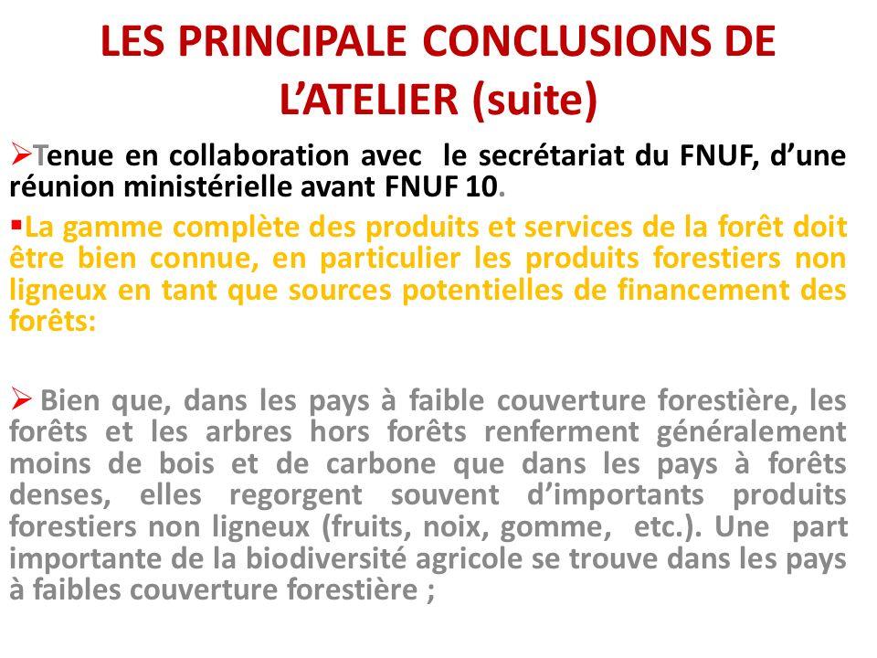LES PRINCIPALE CONCLUSIONS DE LATELIER (suite) Tenue en collaboration avec le secrétariat du FNUF, dune réunion ministérielle avant FNUF 10. La gamme