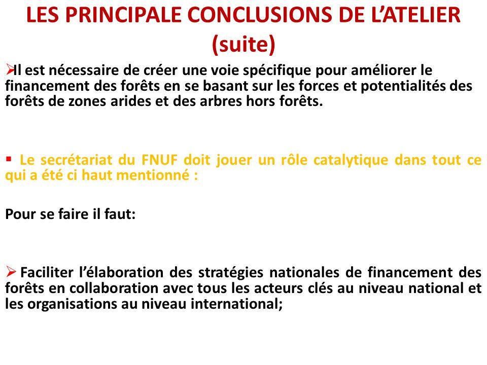 LES PRINCIPALE CONCLUSIONS DE LATELIER (suite) Il est nécessaire de créer une voie spécifique pour améliorer le financement des forêts en se basant su