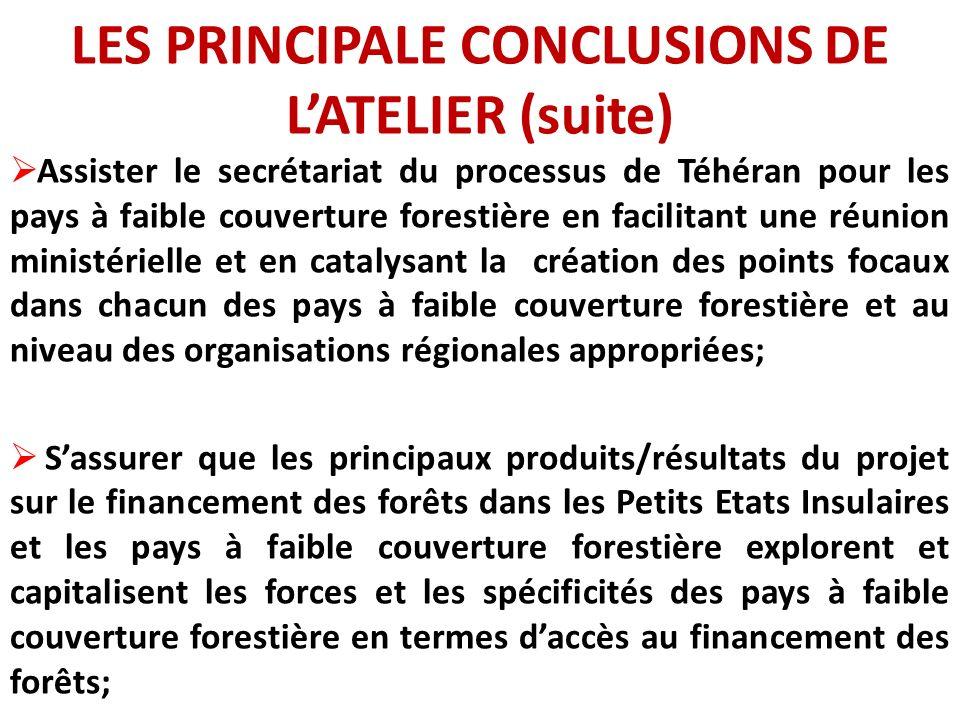 LES PRINCIPALE CONCLUSIONS DE LATELIER (suite) Assister le secrétariat du processus de Téhéran pour les pays à faible couverture forestière en facilit