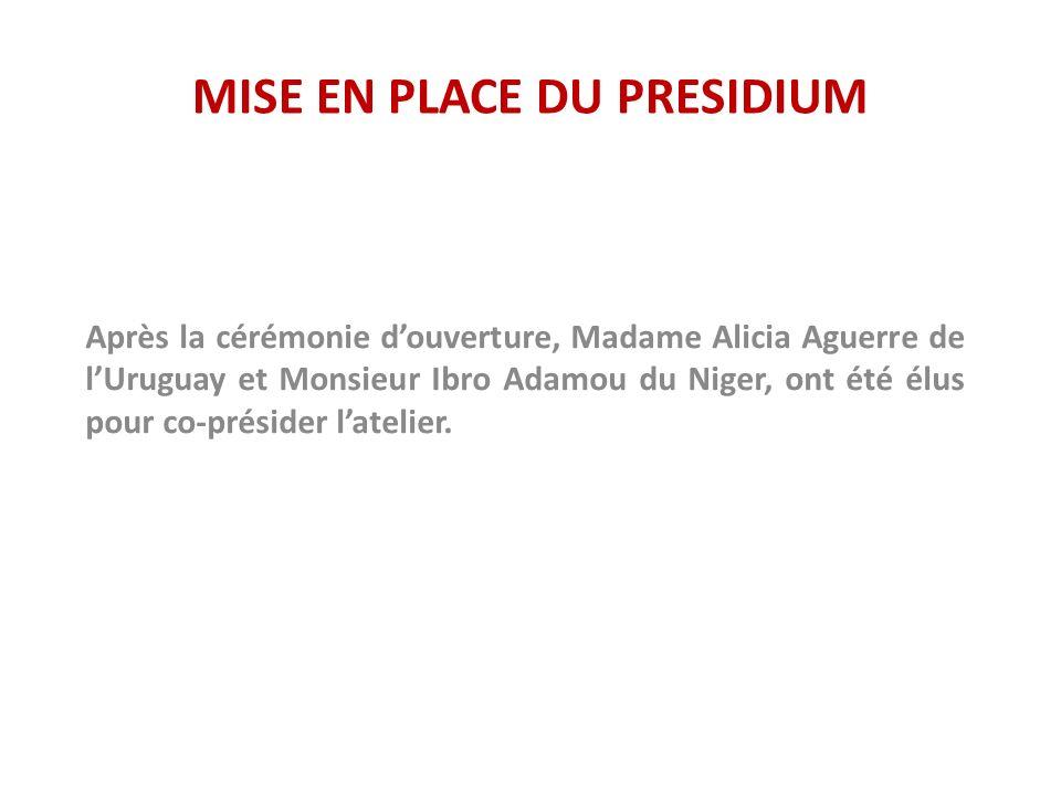 MISE EN PLACE DU PRESIDIUM Après la cérémonie douverture, Madame Alicia Aguerre de lUruguay et Monsieur Ibro Adamou du Niger, ont été élus pour co-présider latelier.