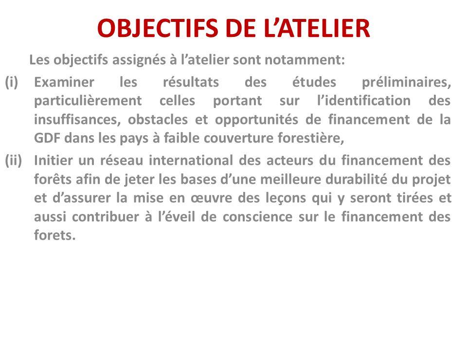 OBJECTIFS DE LATELIER Les objectifs assignés à latelier sont notamment: (i)Examiner les résultats des études préliminaires, particulièrement celles po
