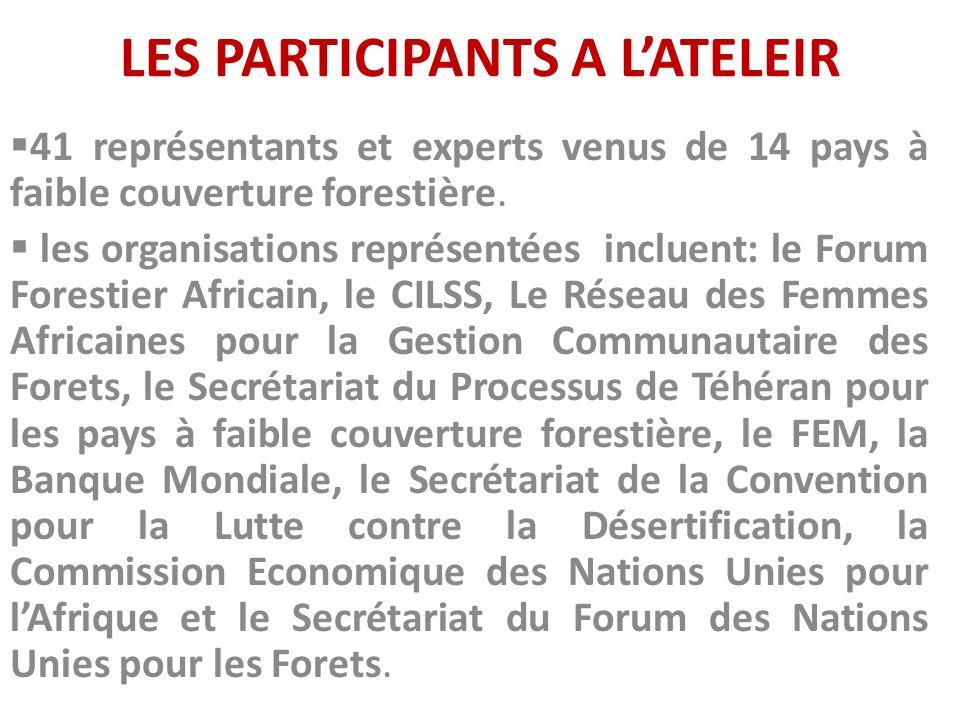 LES PARTICIPANTS A LATELEIR 41 représentants et experts venus de 14 pays à faible couverture forestière. les organisations représentées incluent: le F