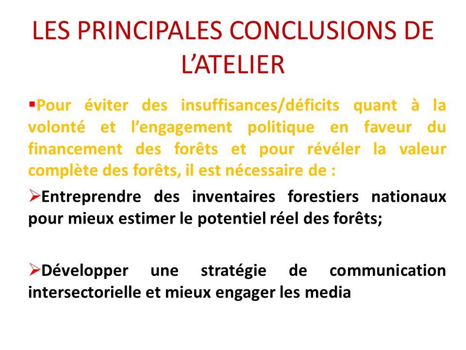 LES PRINCIPALES CONCLUSIONS DE LATELIER Pour éviter des insuffisances/déficits quant à la volonté et lengagement politique en faveur du financement de