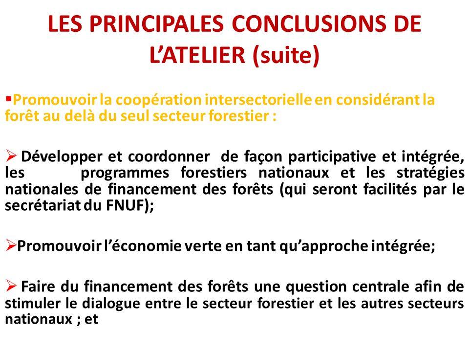 LES PRINCIPALES CONCLUSIONS DE LATELIER (suite) Promouvoir la coopération intersectorielle en considérant la forêt au delà du seul secteur forestier : Développer et coordonner de façon participative et intégrée, les programmes forestiers nationaux et les stratégies nationales de financement des forêts (qui seront facilités par le secrétariat du FNUF); Promouvoir léconomie verte en tant quapproche intégrée; Faire du financement des forêts une question centrale afin de s timuler le dialogue entre le secteur forestier et les autres secteurs nationaux ; et