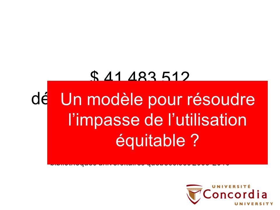 $ 41 483 512 dépenses pour le numérique ( + $ 18 331 126 pour le papier) Source: CRÉPUQ, Statistiques générales des bibliothèques universitaires québé