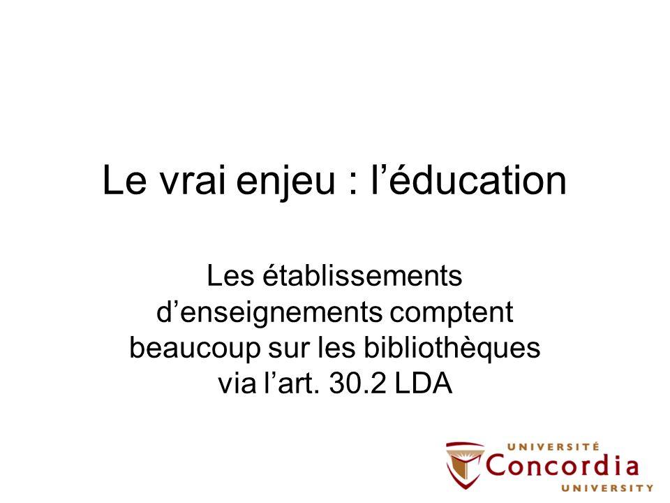 Le vrai enjeu : léducation Les établissements denseignements comptent beaucoup sur les bibliothèques via lart. 30.2 LDA