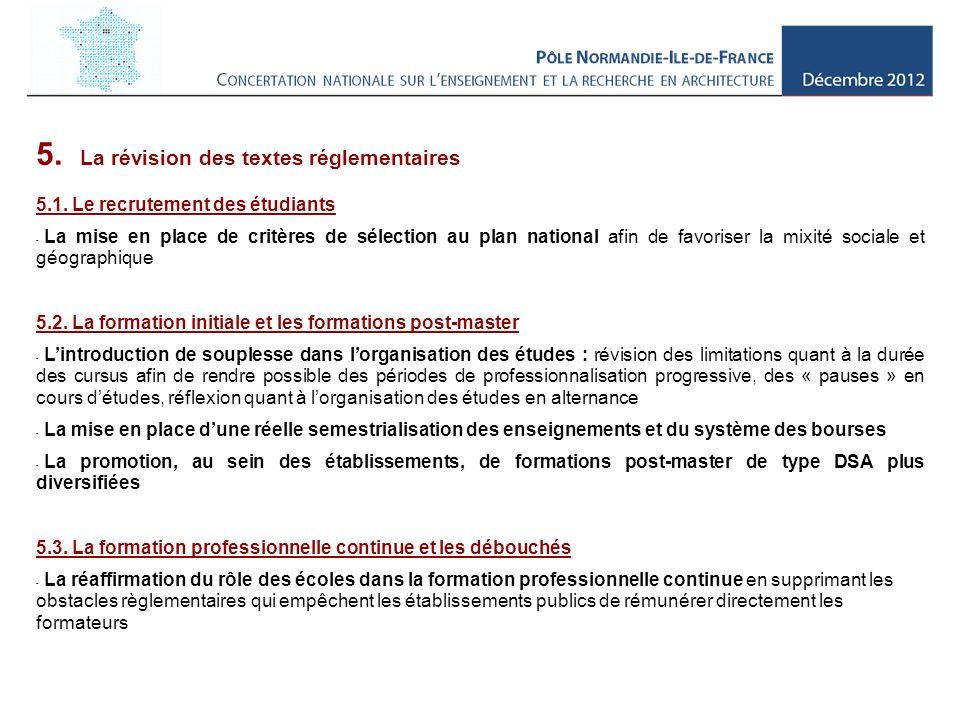 5. La révision des textes réglementaires 5.1.