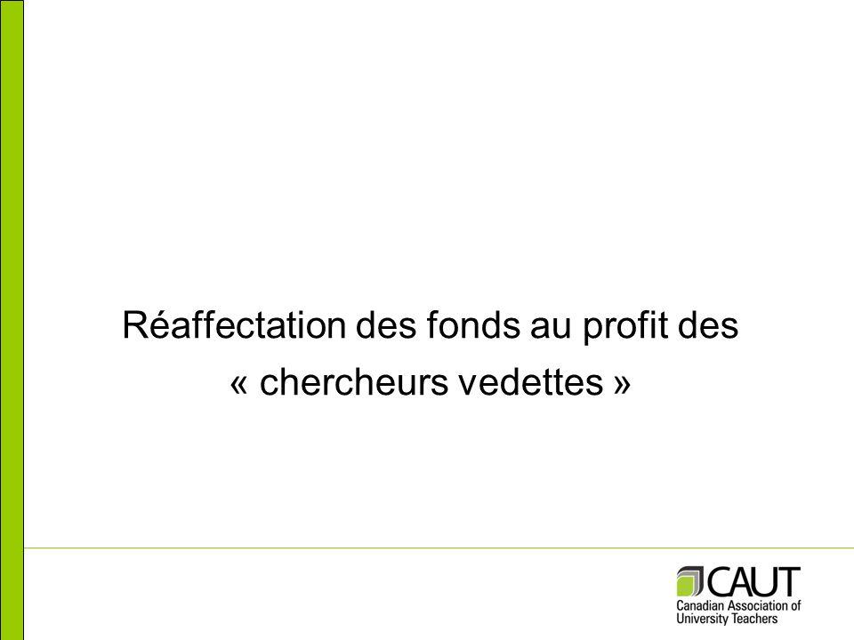 Réaffectation des fonds au profit des « chercheurs vedettes »