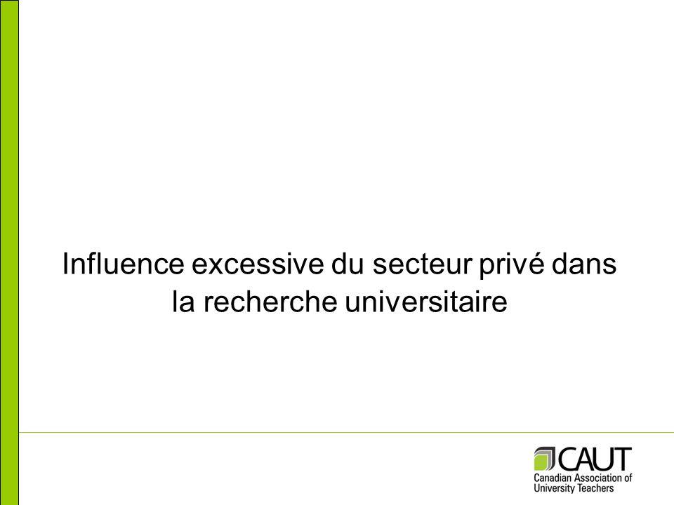 Influence excessive du secteur privé dans la recherche universitaire