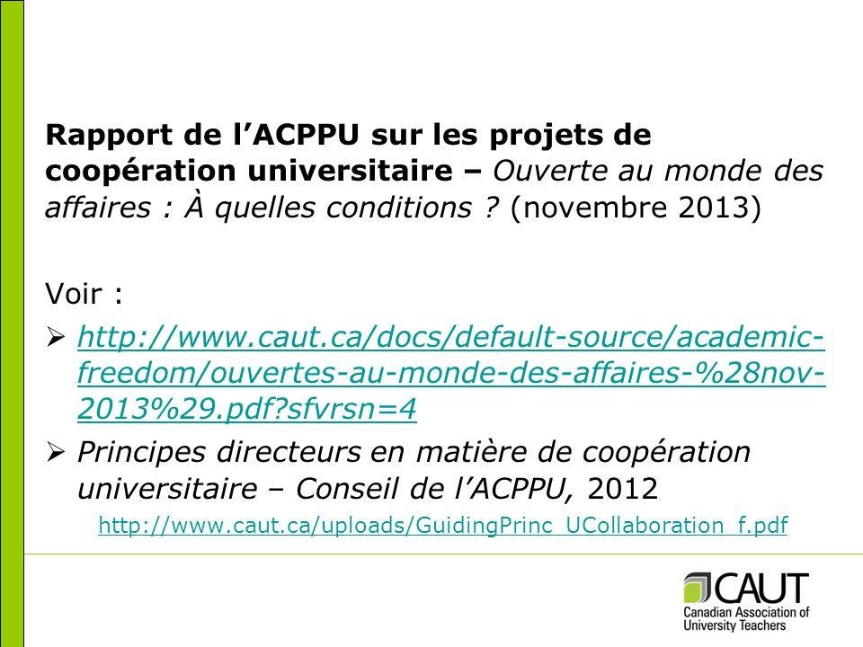 Rapport de lACPPU sur les projets de coopération universitaire – Ouverte au monde des affaires : À quelles conditions .