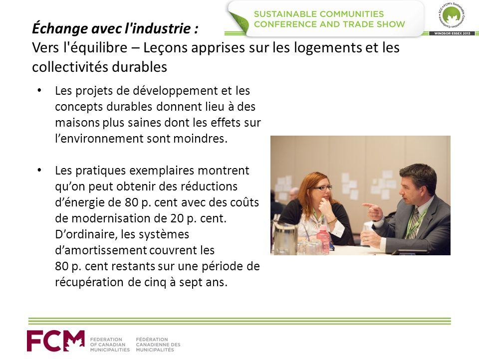 Échange avec l'industrie : Vers l'équilibre – Leçons apprises sur les logements et les collectivités durables Les projets de développement et les conc